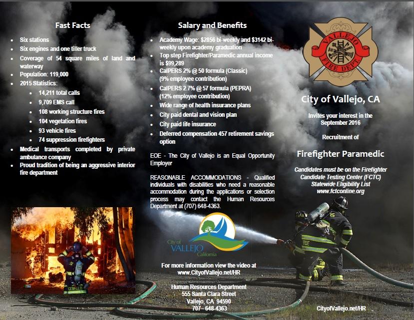 vallejo fire dept  ca   u2013 firefighter  paramedic